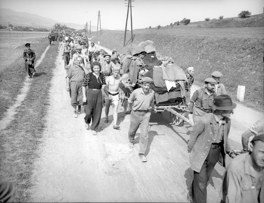 Dieses Bild vom Aufbruch aus Mauthausen in ein neues Leben bekam großes politisches Gewicht: Am Cover des Berichts, der dem US-Kongress nahelegte, KZ-Überlebende aufzunehmen, ist ein Ausschnitt dieses Fotos zu sehen.