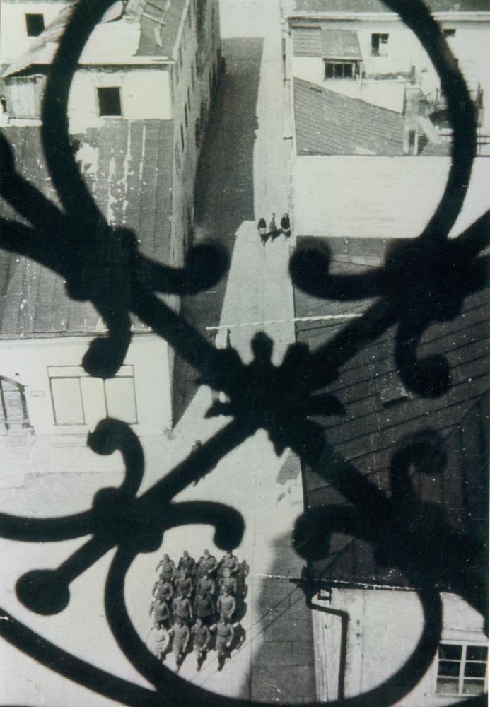 Heimliche Aufnahme sowjetischer Soldaten vom Kirchturm aus, nachdem das Mühlviertel an die sowjetische Verwaltung übergeben wurde.