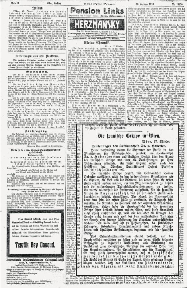 """Zu sehen ist eine Seite der """"Neuen Freien Presse"""". Im vergrößerten Ausschnitt geht es um die Probleme des Erkennens der Spanischen Grippe."""
