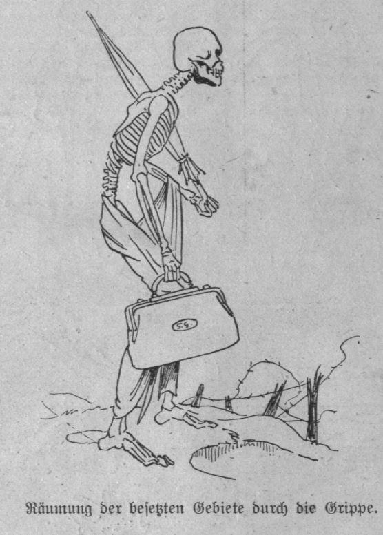 Diese Karikatur zeigt ein Skelett das einen Regenschirm sowie eine Tasche für Ärztinnen oder Ärzte hält. Es befindet sich auf einem Schlachtfeld und schaut in die Ferne. Darunter steht: