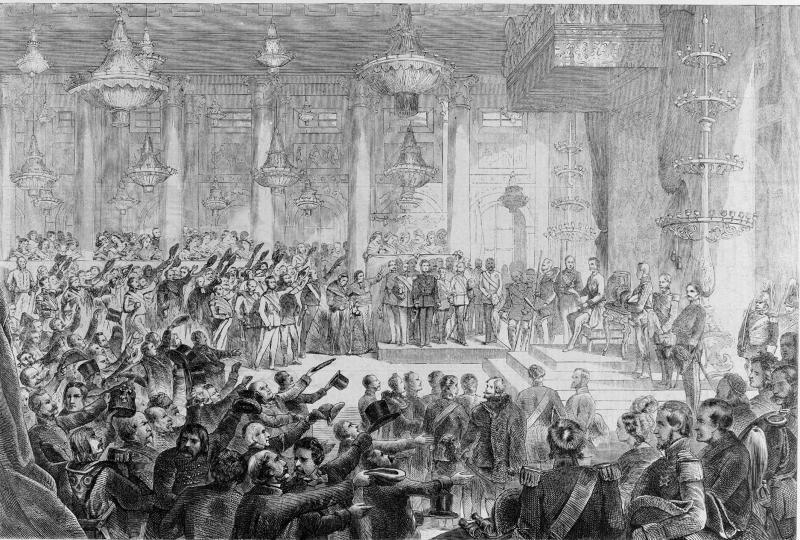 Propagandadarstellung der Thronrede Franz Josefs zur Eröffnung des Reichsrats im Zeremoniensaal der Hofburg, 1.5.1861